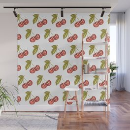 Cherry Watercolor Illustration Pattern Wall Mural