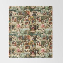 Vintage Victorian Christmas Collage Throw Blanket