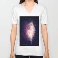 fireworks V-neck T-shirts featuring Fireworks by Jiesha  Stephens