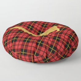 Red Plaid Dachshund Floor Pillow