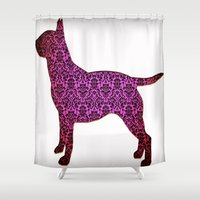 bull terrier Shower Curtains featuring Fancy Vintage English Bull Terrier by Erin Conover