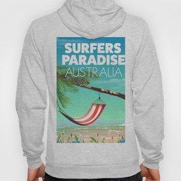 Surfers Paradise Australia beach travel poster. Hoody