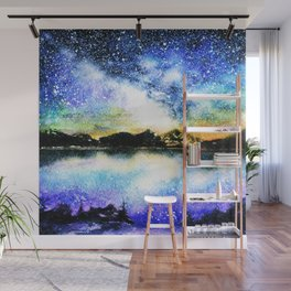Starry night over the lake Wall Mural