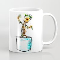 groot Mugs featuring Watercolour Groot by Curious Nonsense.