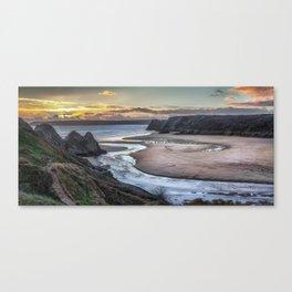 Evening at Three Cliffs Bay Gower Canvas Print