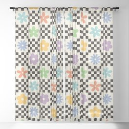 Retro Colorful Flower Double Checker Sheer Curtain