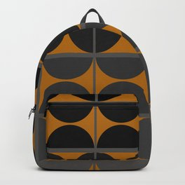 Black and Gray Gradient with Gold Squares and Half Circles Digital Illustration - Artwork Backpack