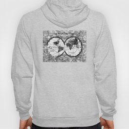 world map black and white Hoody