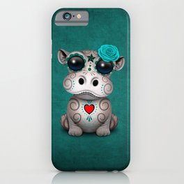 Blue Day of the Dead Sugar Skull Hippo Baby iPhone Case