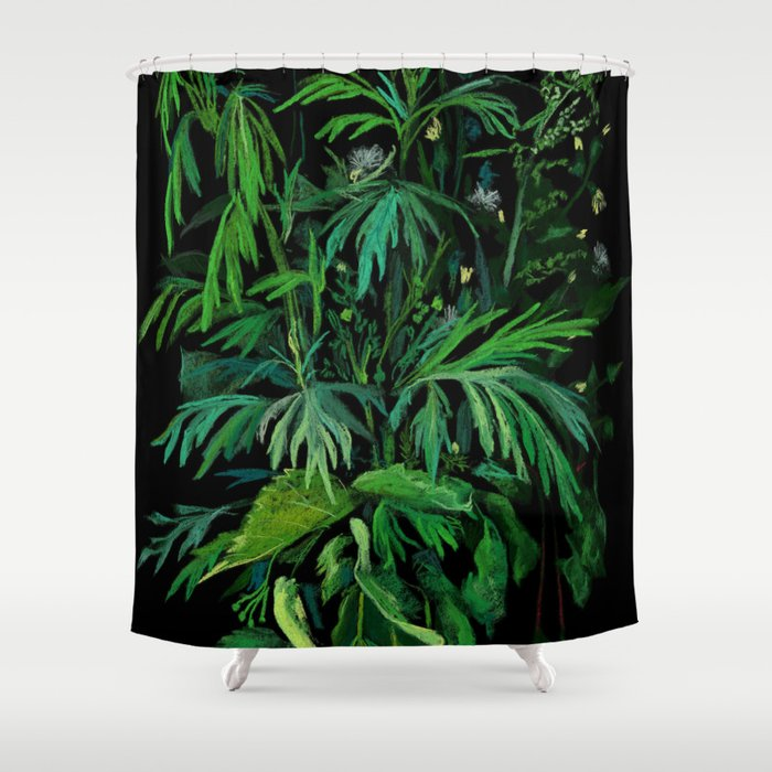 Green & Black, summer greenery Shower Curtain by clipsocallipso ...