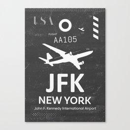 JFK Airport code New York USA Canvas Print
