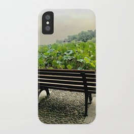 Seat by the lake and lotus iPhone Case