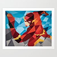 dc comics Art Prints featuring DC Comics Flash by Eric Dufresne