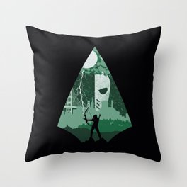 Arrow green Throw Pillow