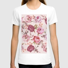 Blush Pink and Red Watercolor Floral Roses T-shirt
