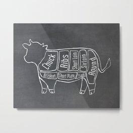 Beef Butcher Diagram (Cow Meat Chart) Metal Print