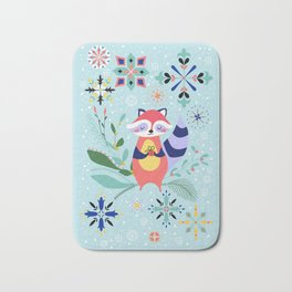 Happy Raccoon Card Bath Mat