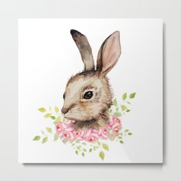 Easter bunny with flower wreath  Metal Print