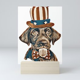 Cute chocolate Labrador Retriever in Uncle Sam hat and bow tie        - Image Mini Art Print