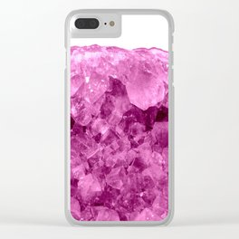 Sparkling Pink Amethyst Clear iPhone Case