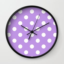 Polka Dots - White on Light Violet Wall Clock