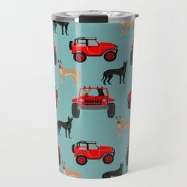 Great Dane jeep car dog breed pattern custom pet portrait Travel Mug