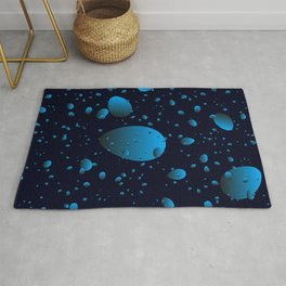 Large blue drops and petals on a dark background in nacre. Rug