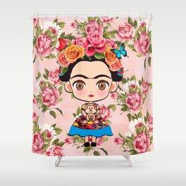 Frida cartoon roses Shower Curtain
