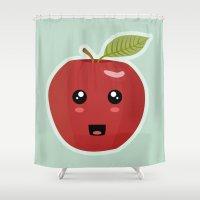 kawaii Shower Curtains featuring Kawaii Apple by Nir P