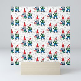 A Couple of Hiking Gnomes Mini Art Print