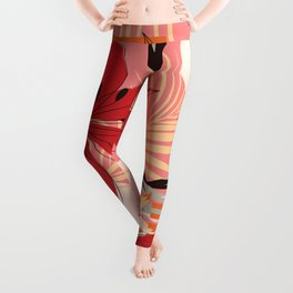 Retro Red Flowers on Coral Leggings