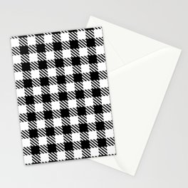 Plaid Pattern 512 Black and White Stationery Cards