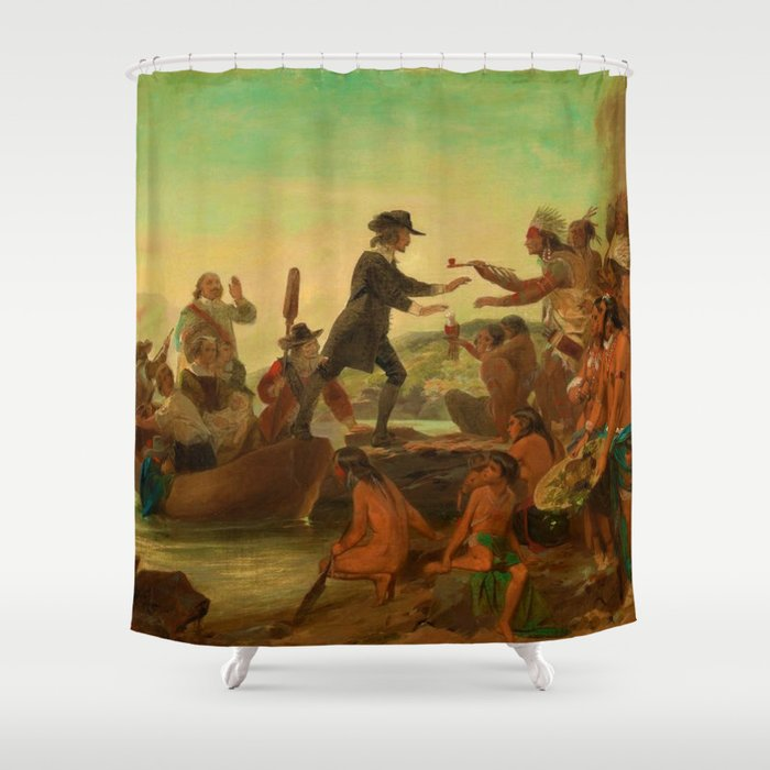 1857 Rhode Island Classical Masterpiece 'The Landing of Roger Williams' by Alonzo Chappel Shower Curtain