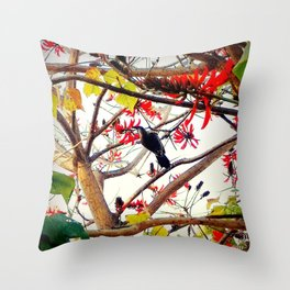 Bird in Coral Tree Throw Pillow