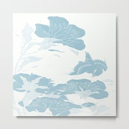 japanese Flowers White and Blue Metal Print