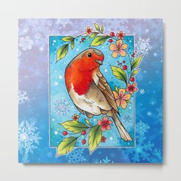 Neo Traditional Robin and Flowers Metal Print