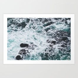 OCEAN - ROCKS - FOAM - SEA - PHOTOGRAPHY - NATURE Art Print