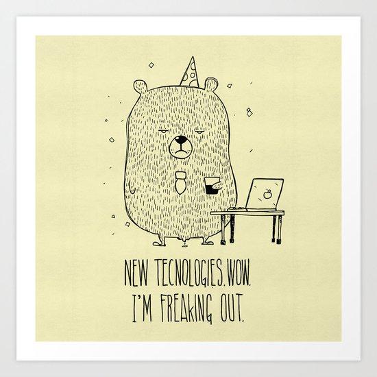 Unemotional Bear vs. Tech Art Print
