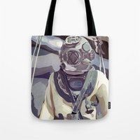 diver Tote Bags featuring Diver by Five Ate Five Studios