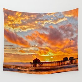 California Dreaming (cropped) ~ Huntington Beach Pier Wall Tapestry