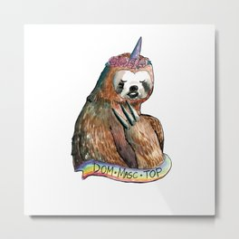 sloth unicorn dom masc top rainbow Metal Print