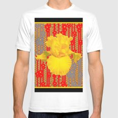 Oriental style Black-red Yellow Iris Pattern Art White Mens Fitted Tee MEDIUM