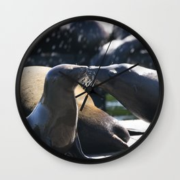 Sea Lions Kiss Wall Clock