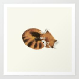 Baby Red Panda (Off-White) Art Print