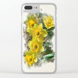 Watercolor Daffodils Clear iPhone Case
