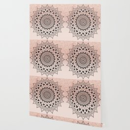 Boho black watercolor floral mandala rose gold glitter ombre pastel blush pink Wallpaper