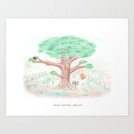 niki owl & friends on his tree Art Print