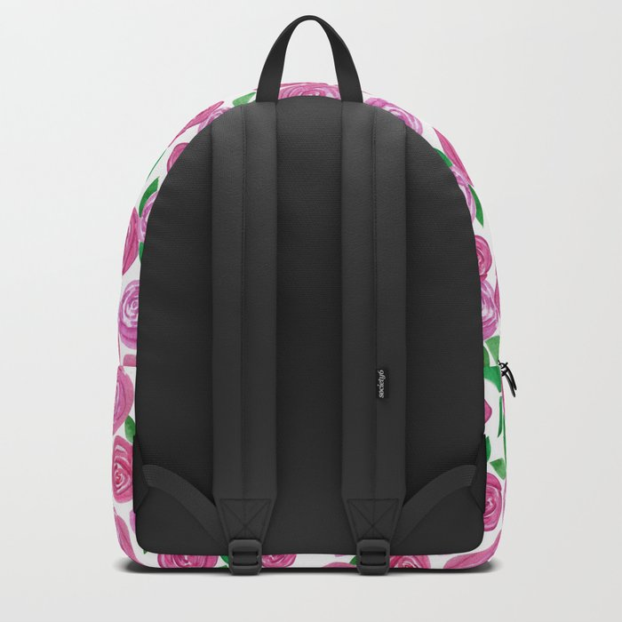 Watercolor red roses. Backpack