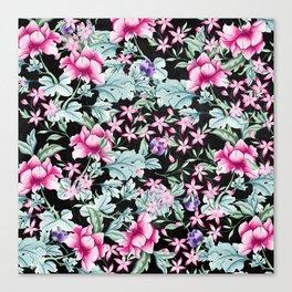 Floral Pattern 1 Black Canvas Print
