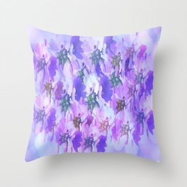 Painterly Glowing Floral Abstract Throw Pillow